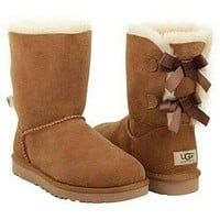 UGG Bow Leather Shoes Boots Winter In Tube Boots Shoes-3