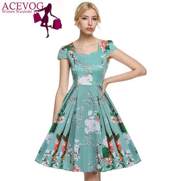 ACEVOG 2016 Vestidos 1950's Vintage Style Women Elegant Cap Sleeve Floral Spring Garden Party Picnic Cocktail Swing Tea Dress