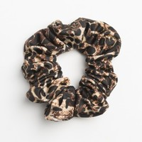 Large glittery leopard hair scrunchie
