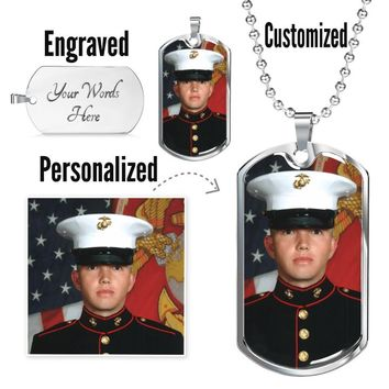 Personalize | Customize | Engrave A Luxury Dog Tag Military Ball Chain Necklace For Your Valentine's Gift Style5