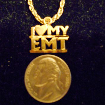 bling 14kt yellow gold plated I HEART MY EMT word saying pendant charm 24 inch rope chain hip hop trendy fashion necklace jewelry special