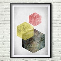 Scandinavian Poster, Hexagon Print, Printable Geometric Art, Mid Century Art, Modern Print, Nordic Poster, Abstract Print *189**