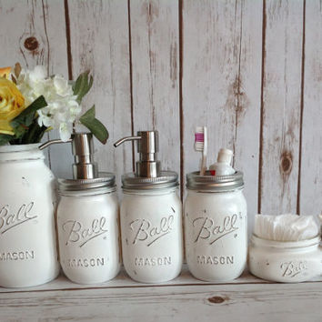Mason Jar Bathroom Kit. Bathroom. Farmhouse Decor. Rustic Home Decor.Office Organizer. Mason Jar Soap Dispenser.Wedding Gift. Quart Size Jar