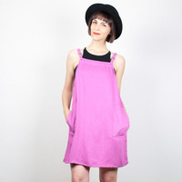 Vintage OVERALLS Dress Mini Dress 1990s Pink Purple Jumper Dress 90s Dress Soft Grunge Dress Pinafore Dress Shift Smock M Medium L Large