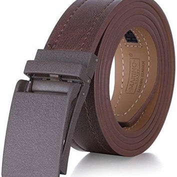 Marino Avenue Genuine Leather Belt For Men 1 3 8 Wide Casual Ratchet Belt With Automatic Linxx Buckle