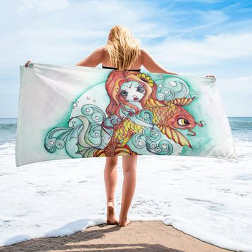 Mermaid and Koi Beach Towel