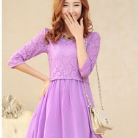 Kawaii Lolita Mid-sleeve Lace Splicing Chiffon Layered Dress - M L XL from Tobi's Finds