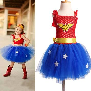 Superhero Inspired Girl Tutu Dress Wonder Woman Batman Superman Cosplay Photo Props Dress Birthday Gift TS089