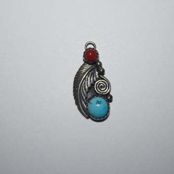 Beautiful  Vintage Sterling Silver Turquoise and Coral  Necklace Pendant  -US free shipping