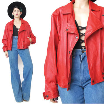 Red Leather Biker Jacket Vintage 1980s Red Leather Jacket Soft Leather Moto Jacket Unisex Womens Snap Up Front Rocker Cropped (M/L)