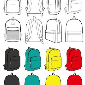 Backpack Fashion flat technical drawing vector template (PRO ver.)