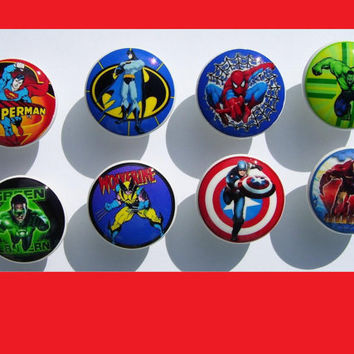 8 Superhero  super hero , on white knob   Dresser Drawer Knob