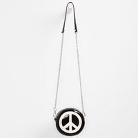 Love Trove Peace Sign Crossbody Bag Black One Size For Women 25544010001