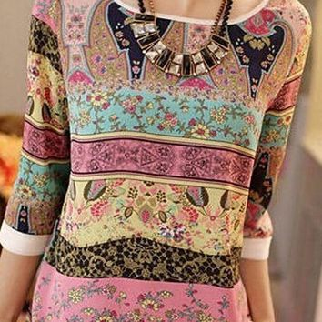 A| Chicloth Floral Vintage Polyester Boat Neckline 3/4 Sleeves Blouses