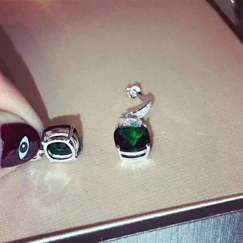 2018 New Bvlgari Green gemstone colourful brick and stone high-end fashion jewelry S925 Sterling Silver Earring cartilage hoop   stud drop