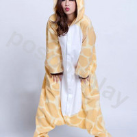 SALE---KIGURUMI Costume Animal Pajamas Pyjamas Onesuit Adult / Kid SLOTH-giraffe