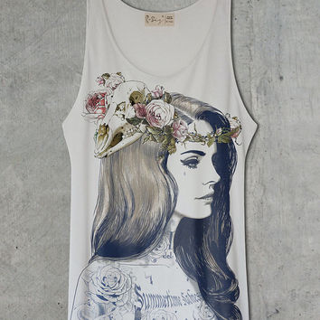 Lana Del Rey Tattoo Off White Tank Top Shirt