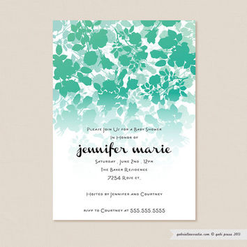 Audrey Teal  Printable Invitation 5 x 7 Card by gabipress on Etsy