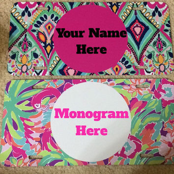 Lilly Pulitzer Personalized License Plate Monogrammed License Plate