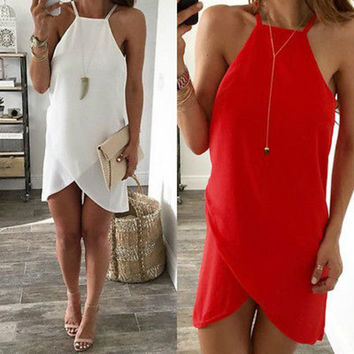 New Sexy Women Summer Casual Sleeveless Party Evening Irregular Short  Mini Dress Red White