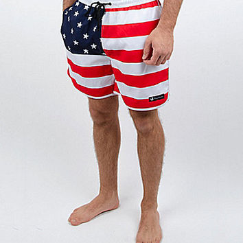 Rowdy Gentleman American Flag Swim Trunks - Red