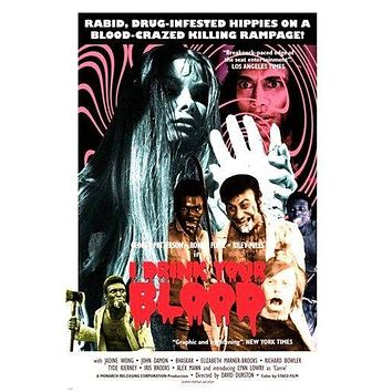 hollywood horror I DRINK YOUR BLOOD movie poster SCARY GORE collectors 24X36