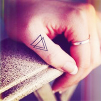4pcs Small Double Triangle tattoo finger - InknArt Temporary Tattoo - quote tattoo wrist sticker fake tattoo tiny bird love