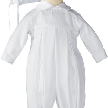 Boys Gabardine Irish Embroidered Shamrocks Christening Coverall 0-12m