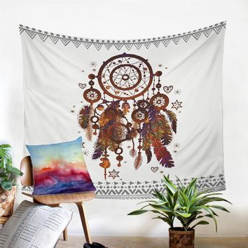 Red Blue Yellow White Feather Dream Catcher Tapestry