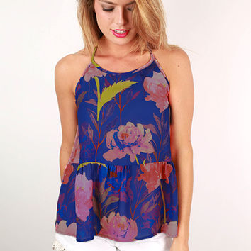 Made To Mingle Floral Halter Peplum Tank in Royal Blue