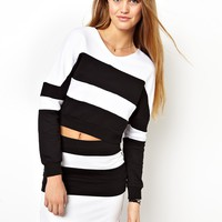 ASOS Cropped Sweatshirt in Colour Block