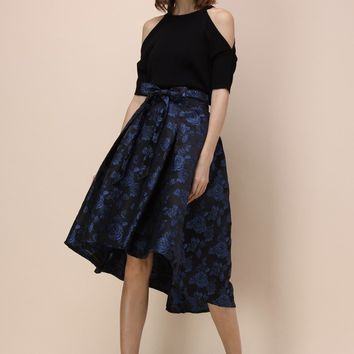 Dashing Rose Embossed Waterfall Skirt in Blue