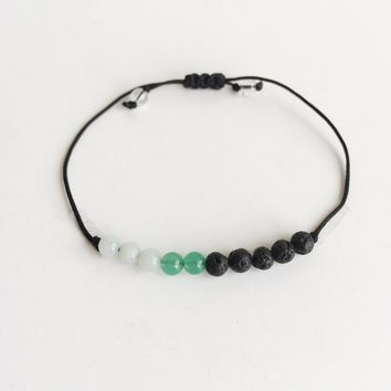 Luck & Prosperity ~ Choose a String Color ~ Amazonite, Aventurine and Lava Bead Infuser Bracelet