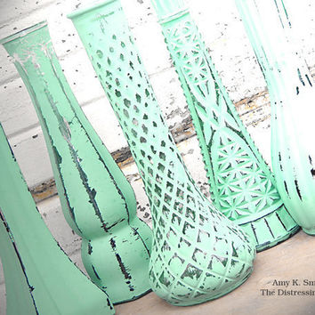 """One Sweet Random Vase - 9"""" Tall Glass Bud Vase Painted in Bright Trendy Mint Green Nine Inch Tall Vintage Shabby Chic Distressed"""