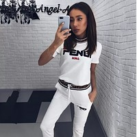 FENDI Womens Short Sleeve Top Pants Two-Piece White