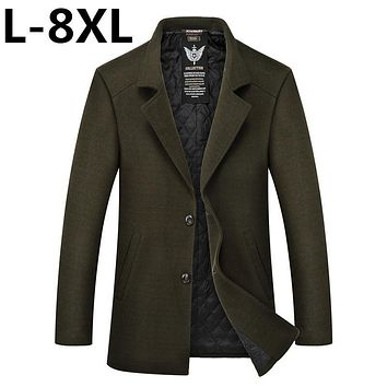 big Size 8XL 7XL 6XL 5XL Winter Mens Long Coats Men's Woolen Jackets Cashmere Coat Business Casual Wool & Blends Jacket Overcoat