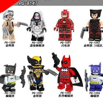 Deadpool Dead pool Taco PG8147 8PCS  Super Heroes Building Blocks X-Men Wolverine Flash  Batman Bricks Action Figures Children Gift Toys AT_70_6