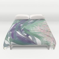 Deep Ocean River Abstract In Soft Green and Purple Duvet Cover by Jen Warmuth Art And Design