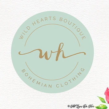 Wild hearts Logo, Premade Logo, Graphic Design, Logo, Badge Logo