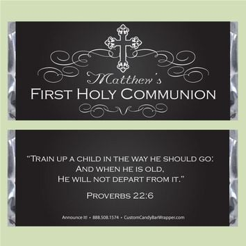 Chalkboard First Communion Candy Bar Wrappers
