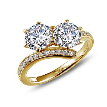 Lafonn Two-Stone Sterling Silver GOLD Plated Simulated Diamond Ring (1.96 CTTW)