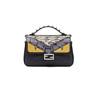 .Fendi. Double Micro Baguette Microbag In Leather and Elaphe With Bag Bugs Detailing