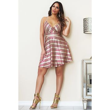 Gail Spaghetti Strap Fit-and-Flare Sequined Dress In Taupe Wine