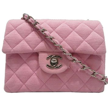 CHANEL Classic Flap Chain Shoulder Bag Quilted Canvas Pink