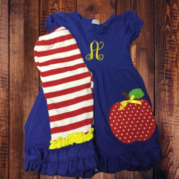In Stock-Blue Ruffle  top with Apple Striped capri set
