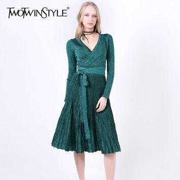TWOTWINSTYLE 2017 Spring Women Lace up Pleated Flare Midi Party Dresses Sexy V Neck Long Sleeve Vintage Clothes Korean New Black