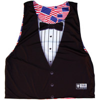 American Flag Party Flags & Tuxedo Lacrosse Pinnie