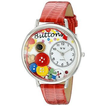 SheilaShrubs.com: Unisex I Love Buttons Red Leather Watch U-0410011 by Whimsical Watches: Watches