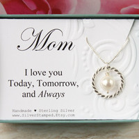 Mothers Day gift for Mom necklace Sterling Silver Swarovski pearl gift box I love you Mom necklace gift from daughter gift from son