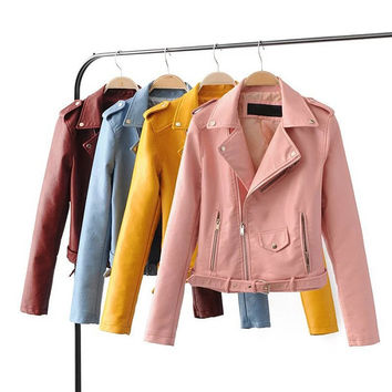 Good Quality Ladies Short PU Leather Jacket